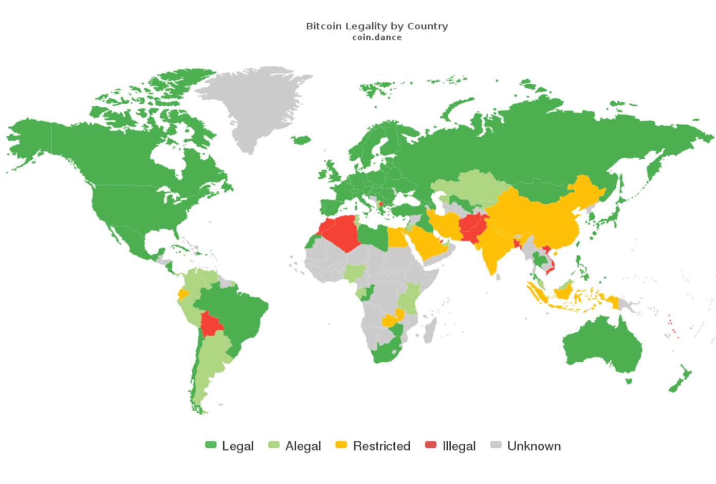 В каких странах криптовалюта официально принята законом?